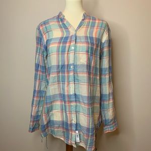 Aerie plaid button down blouse size medium